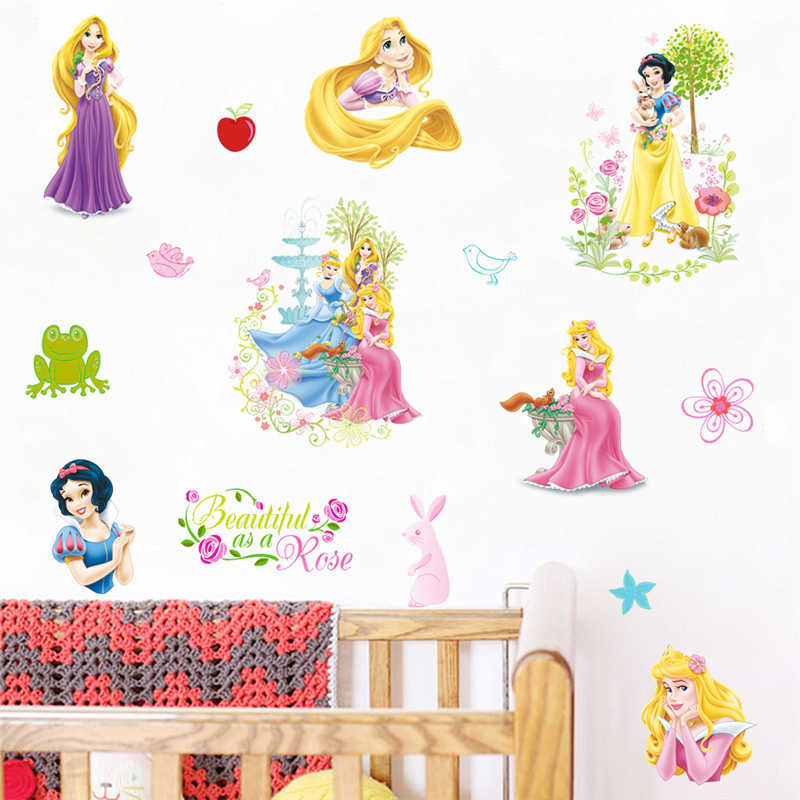 Cartoon Disney Snow White RapunzelAurora Princess Wall Stickers For Girl's Room Decoration DIY Kids Wall Decals PVC Art Posters