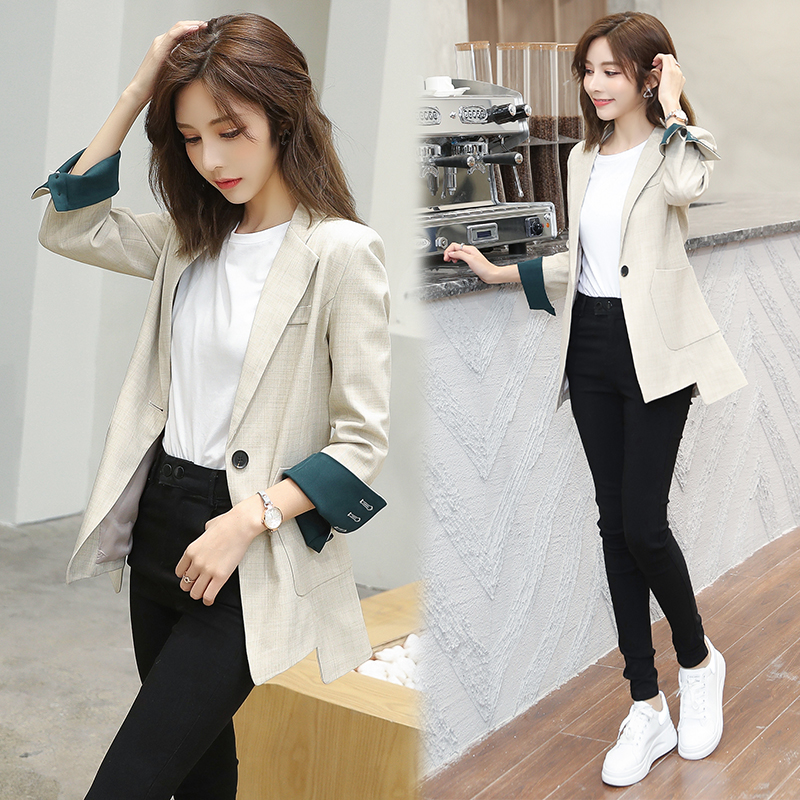 Women Blazer Coat Spring and Autumn Pattern Single-breasted Female Suit Jackets 2020 Autumn Loose Blaser Outwear Femme