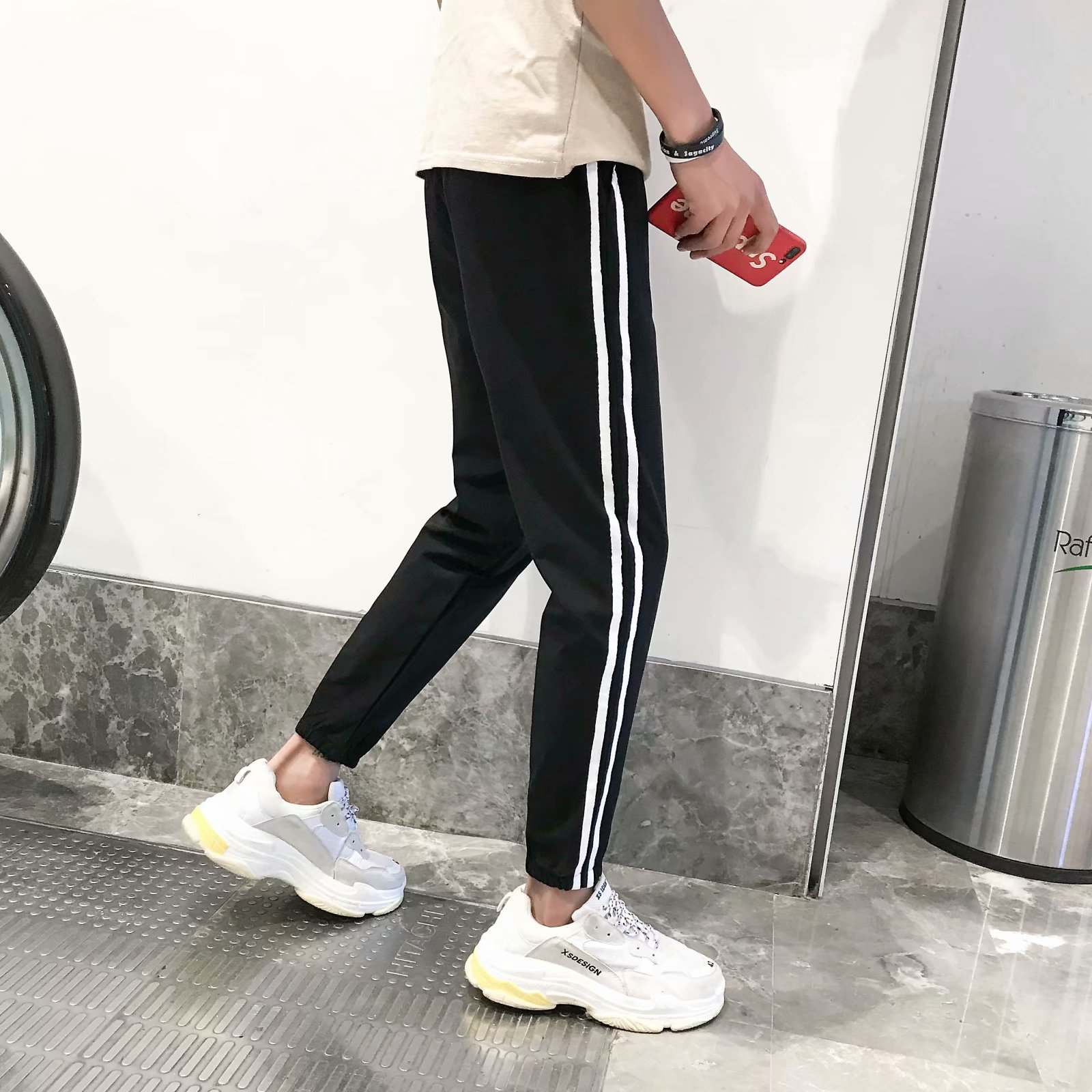 Autumn Large Size Korean-style Students Two Bars Pants Men And Women Loose-Fit Sports School Uniform Versatile Casual Two Bar Sw