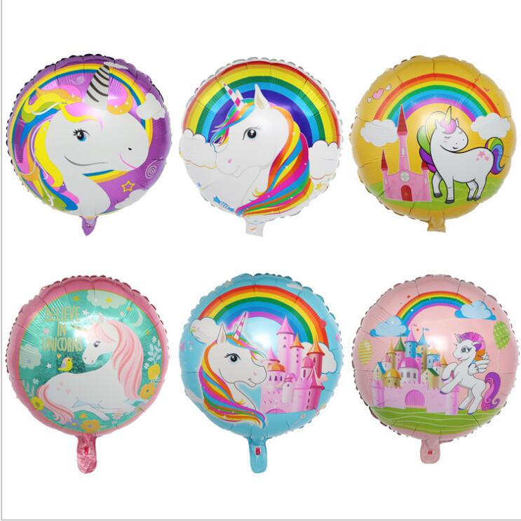 The new 18 inch cartoon unicorn ball children 39 s birthday party party party flamingos balloon in Ballons amp Accessories from Home amp Garden