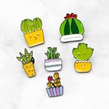 Potted Plant Rainbow Enamel Pins Custom Cactus Cat Brooches Backpack Shirt Lapel Pin Badge Fashion Cartoon Jewelry Kids