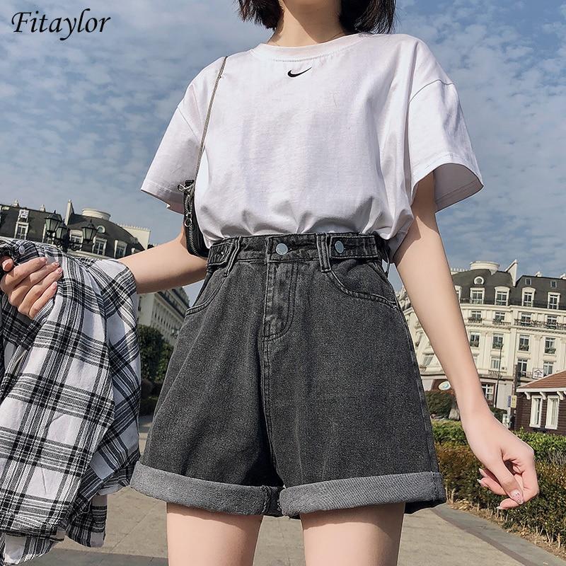 FTLZZ New Summer Women High Waist Button Wigh Leg Jeans Shorts Casual Female Loose Fit Blue Denim Shorts 1