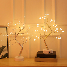 LED Table Lamp Night Lights USB Fire Tree Light Copper Wire Table Lamps Fairy Night Light For Home Wedding Bedroom Decor