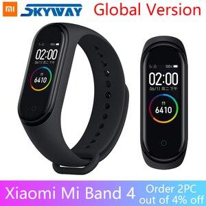 Image 1 - Küresel sürüm orijinal XiaoMi Mi Band 4 akıllı bileklik spor bilezik kalp hızı zaman büyük dokunmatik ekran mesaj Smartband