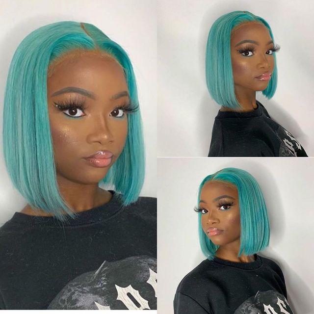 Perruques bob lace wig brésiliennes naturelles | Cheveux humains, couleurs 613 rose rouge bleu, pre-plucked, sans colle, swiss lace front hd, courtes