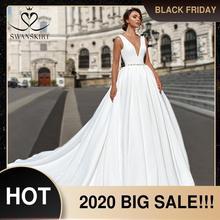 אלגנטי V צוואר סאטן חתונה שמלת Swanskirt F101 קריסטל חגורה ללא משענת אונליין משפט רכבת נסיכת כלה שמלת Vestido דה novia