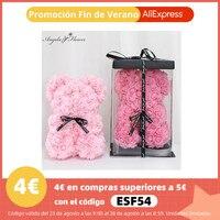 DIY 25 cm de peluche oso con caja PE Artificial flor Oso de Día de San Valentín novia mujeres esposa regalos Día de la madre