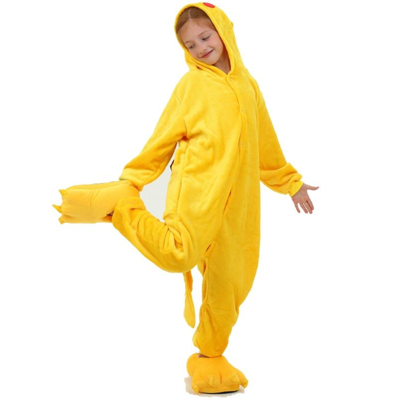 Winter Children Flannel Cartoon Warm Pikachu Kigurumi Onesie Cosplay Animal Pokemon Pajamas Homewear With