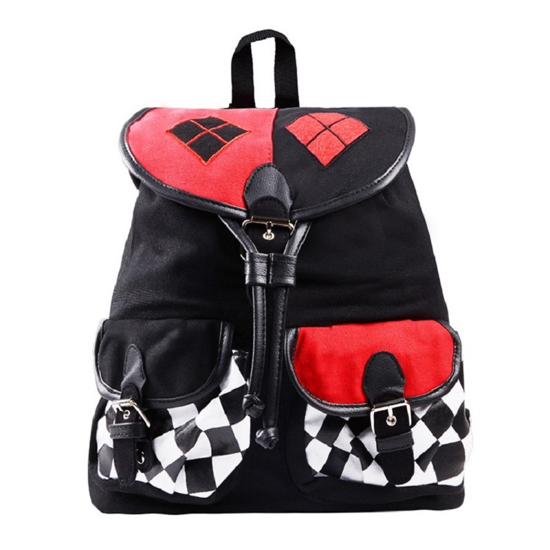 FAIRY SERAPHIM Suicide Squad Harley Quinn Backpack Flap Cover Teenagers School Bag Joker Cartoon Style Children Schoolbag