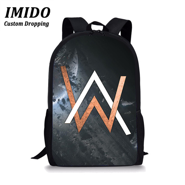 IMIDO Stylish Backpack Cool DJ Alan Walker School Backpack For Kids School Supplies For Boys Shoulder Bag Women Mochila 2019