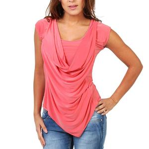 Hot Solid Color Women Plus Size Ruched Sleeveless Tunic Top Drape Cowl Front T-Shirt Sleeveless Tunic Top Drape Cowl Front T-Shi