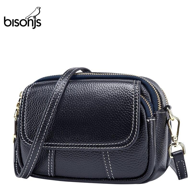 BISONJS Genuine Leather Shoulder Bag Large Capacity Crossbody Bags For Women Vintage Multiple Layer Messenger Bag B1777