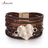 Amorcome Handgemaakte Liefde Hart Lederen Wrap Armband Voor Vrouwen Meisjes Leopard Snake Patroon Magnetische Gesp Manchet Armbanden Hot