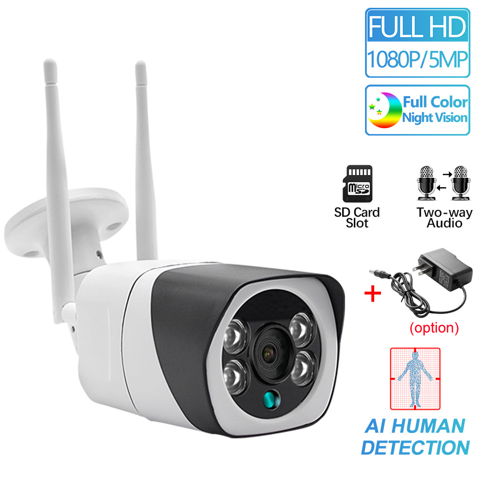 WIFI IP Camera 1080P Wireless Wired ONVIF P2P CCTV Bullet Outdoor Camera With SD Card Slot Max 64G Optional 5MP