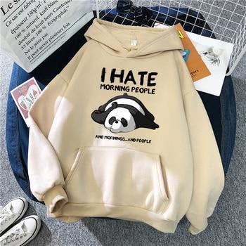 Cute Panda Sleeps Print 2020 New  Women'S Sweatshirt Warm Vintage Pullover For Women Fashion Korean Round Neck Hoodie Female 1