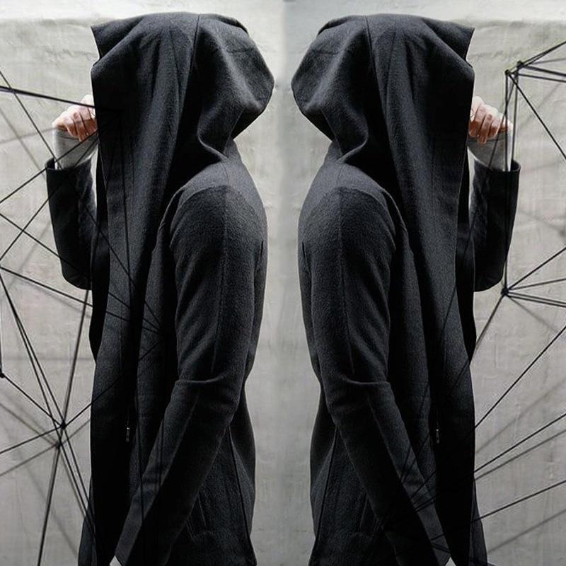 Harajuku Jcaket Assassins Creed Mens Hoodies Thin Coat Unisex Cloak Gothic Streetwear O-Neck Long Sleeve Solid Loose Cardigan