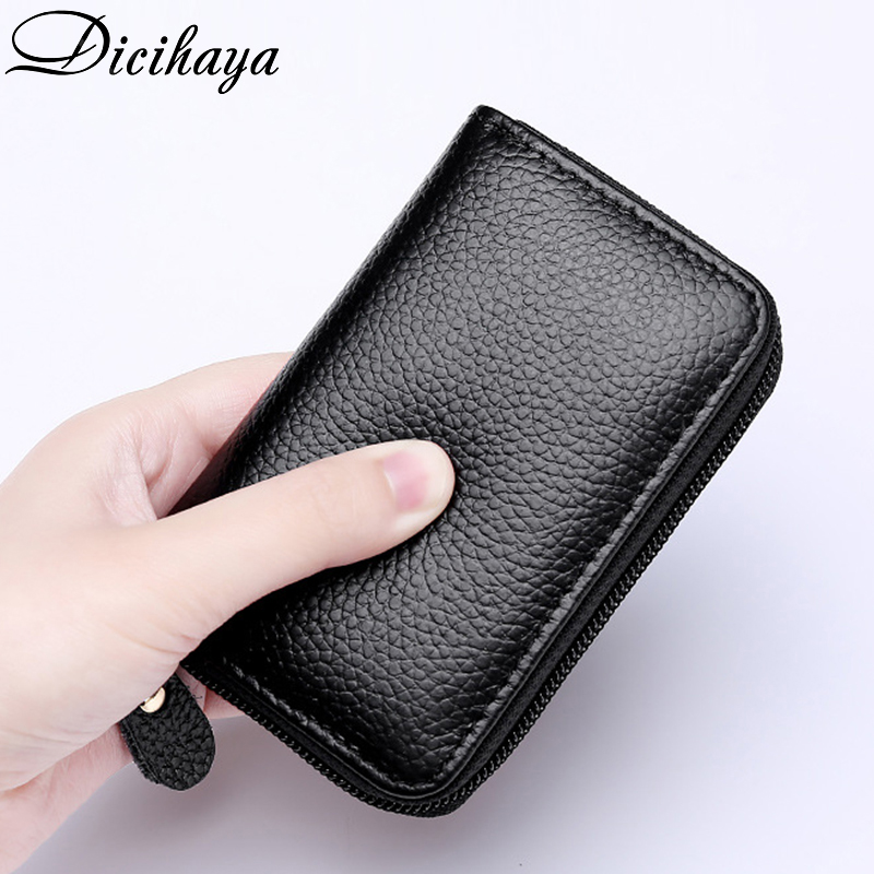 DICIHAYA REAL Leather MEN Credit Card Holder Leather Purse For Cards Case Wallet For Credit ID Bank Card Holder Women Cardholder