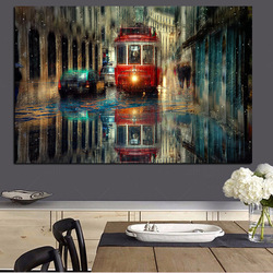Large Retro Tram Rain City Street Oil Painting Graphic Artwork Canvas Poster and Print Cuadros Wall Art Pictures For Living Room