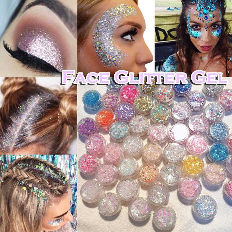 Glitter Glam Vloeibare Huid Sparkle Eye Glitter Haar Body Gezicht Glitter Gel Flash Hart Losse Pailletten Glitter Oogschaduw Crème