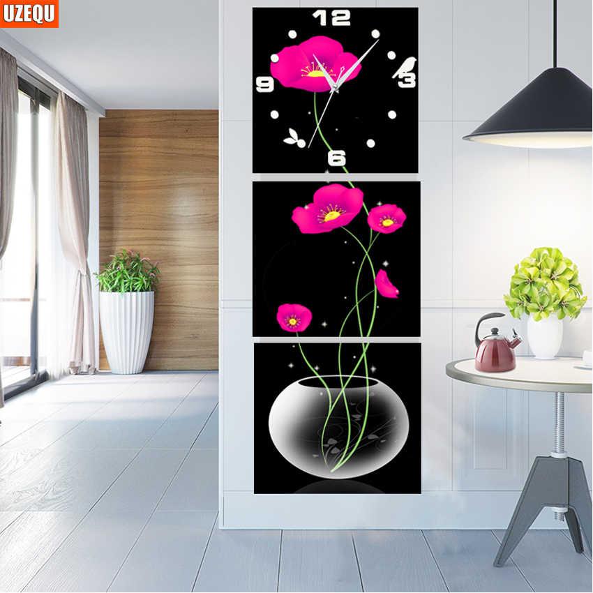 Triptych Diy Diamond Painting Flower Wall Clock Diamond Embroidery Full Wall Sticker Diamond Mosaic Home Decor Needlework