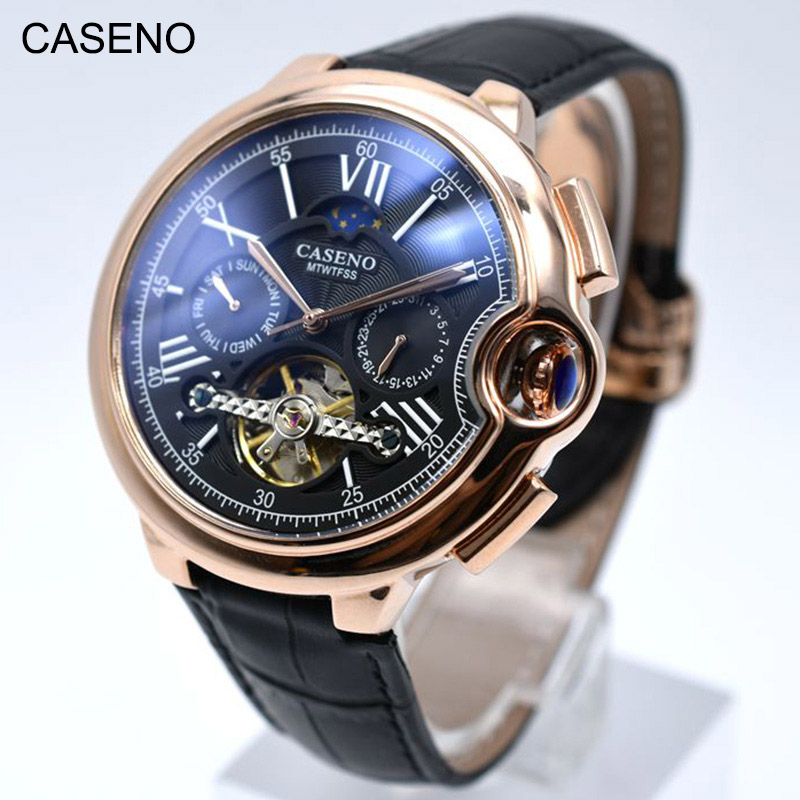 Tourbillon Herren Uhr Top Marke Luxus Gürtel Uhr Männer Automatische Mechanische Armbanduhr Skeleton Sport Männlich Uhren relogio CASENO-in Mechanische Uhren aus Uhren bei  Gruppe 2