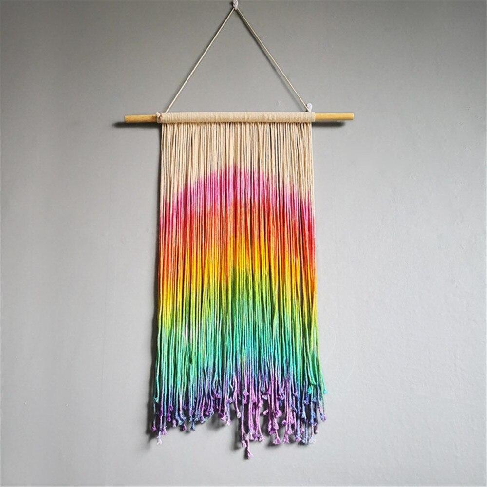 Ins Rainbow Woven Tapestry Macrame Wall Hanging Boho Bohemian Room Tassel Tapestry Art Beautiful Apartment Dorm Room Decoration|Decorative Tapestries| |  - title=