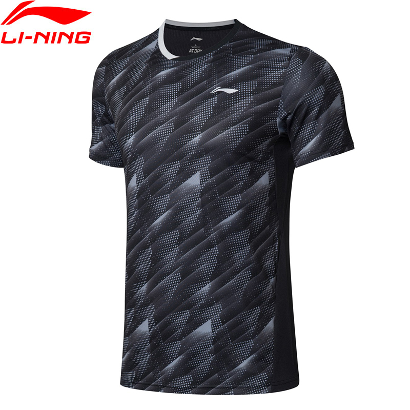 Li-Ning Men Badminton Competition T-Shirts 88%Polyester 12%Spandex Teamwear LiNing AT DRY Basic Sports Tees AAYP063 MTS3051