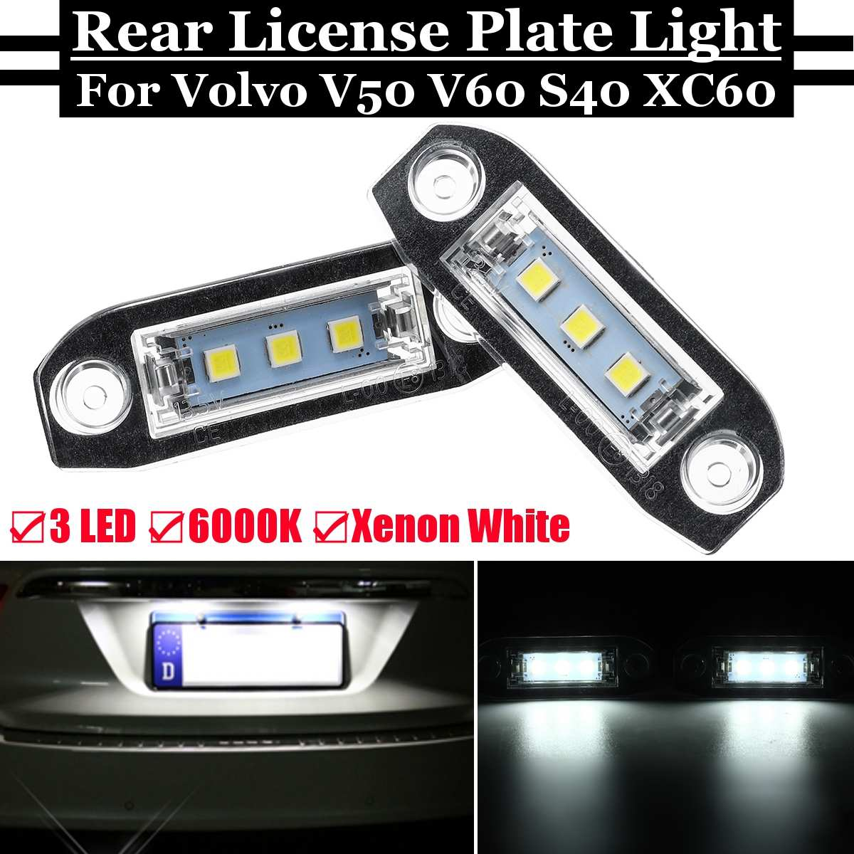 New Car 2 Pcs LED <font><b>Rear</b></font> License Plate <font><b>Light</b></font> Bright White Number Lamp for <font><b>Volvo</b></font> S40 S60 <font><b>S80</b></font> V50 V60 V70 Xc60 Xc70 Xc90 2004 - 2015 image