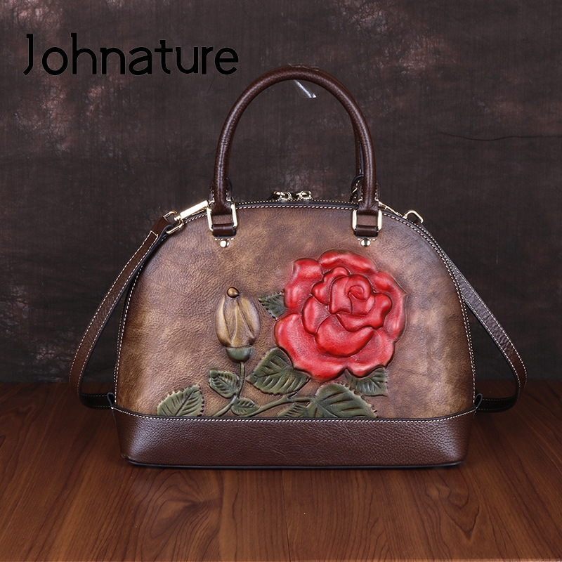 Johnature High Quality Genuine Leather Luxury Handbags Women Bags 2019 New Retro Handmade Embossing Shoulder & Crossbody Bags