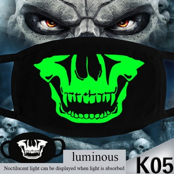 Mask Halloween Fabric Reusable Respirators Mask Thin cloth Cotton Masks mascarilla Activated Carbon Cotton Luminous Washable image