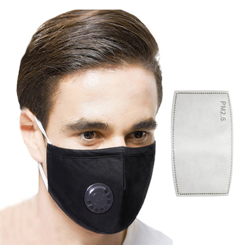 1PC PM2.5 Cotton Respirator Breathable Valve Mask Insertable Filter High Efficiency Filtration Breathable Send One Filter