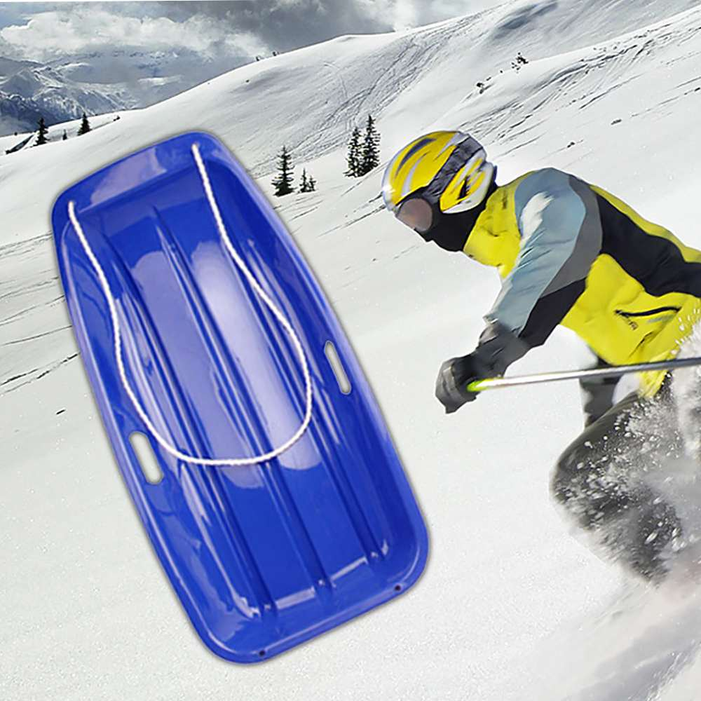 Winter Plastic Outdoor Sports Toboggan 65x35cm Snow Sled With 2 Handles Hole For Child Green Skiing Board Sled Sport Tools