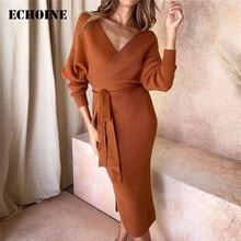Echoine Sexy Backless Long Sleeve Midi Dress Women Ribbed V-neck Slash Black Party Dresses Vintage Vestidos Elegant robe femme