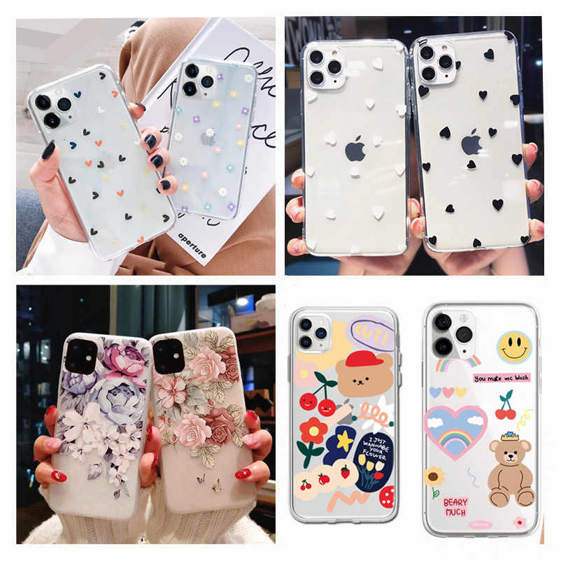Clear Silicone Telefoon Case Voor Iphone 11 Pro Max Xs Max Xr X 7 8 Plus 6 6 S 5 5S Se 2020 Mooie Bloemen Soft Cover Funda