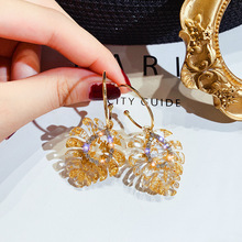 Super Flash Drill Leaf Earrings Fashionable Temperament Baitao Euro-American Personality Exaggeration Net Red