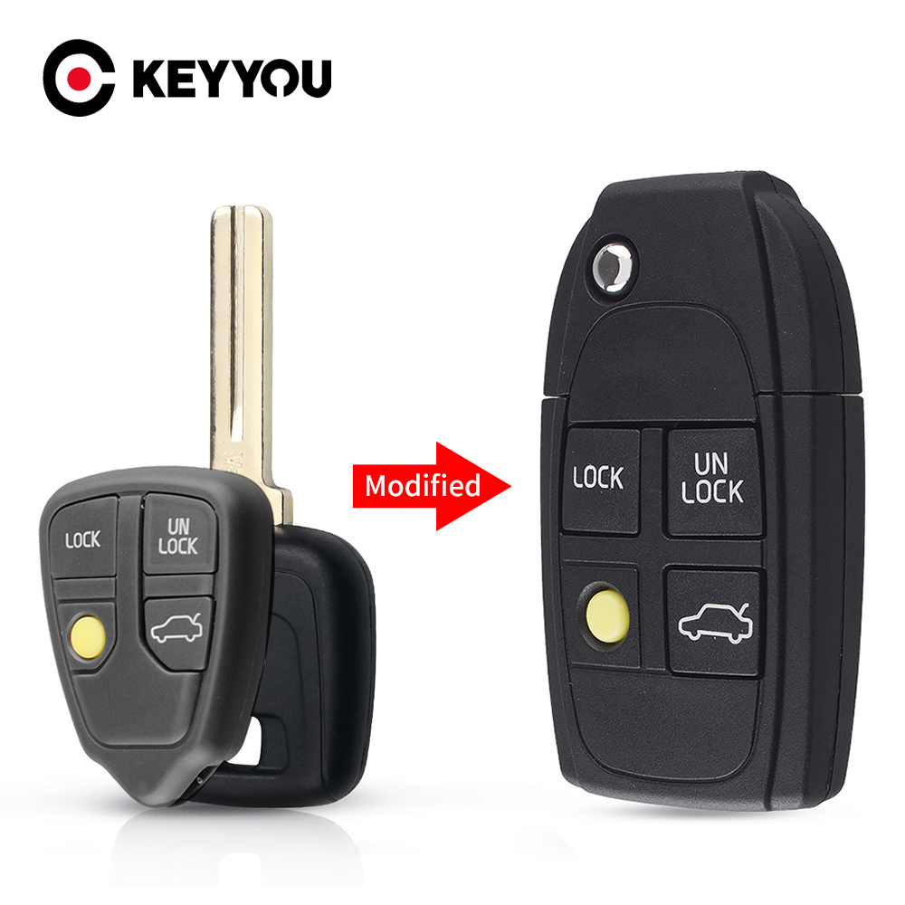 KEYYOU Modified <font><b>Key</b></font> 4 Buttons Folding <font><b>Key</b></font> Shell <font><b>Replacement</b></font> Part For <font><b>Volvo</b></font> XC70 XC90 V40 V50 V70 V90 C30 C70 <font><b>S40</b></font> S60 S70 S80 image