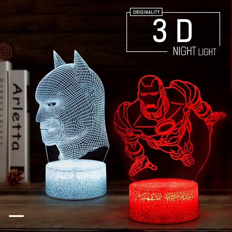 3D LED Night Light Novelties 2019 Holiday Xmas Party Decoration Kids Room Lamp Joker Batman Iron Man Transformers Table Lighting