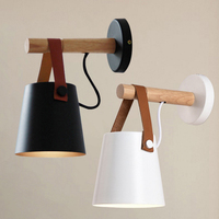 Lámpara de pared LED de madera  lámparas de pared de estilo moderno  lámpara de cabecera  lámpara blanca y negra para decoración del hogar E27 85-265V
