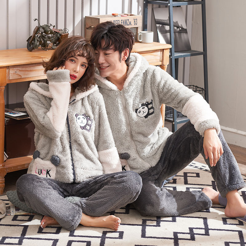 Coral Couple Pajamas In Autumn And Winter Long-sleeved Flannel Suit For Cartoon Home Wear For Men And Women