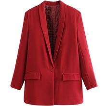 Textured Red Tweed Woman Casual Blazer Women Red Suit femme Long Womens Elegant