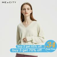 Me&city Wool Knitted Sweater Women Pullovers Autumn Winter Basic Women V neck Leisure elegant Sweaters