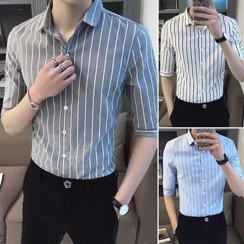 Camisa MOGU Sexy ajustada a rayas para hombre Casual gris ropa de calle Inglaterra hombres novedad de verano manga corta Camisa Tops Plus 5XL