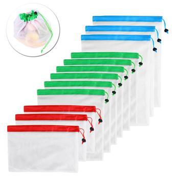 12 szt 3 rozmiary siatka wielokrotnego użytku produkuje torby zmywalne ekologiczne torby na uchwyt do torby na zakupy owoce warzywa organizator etui tanie i dobre opinie Nowoczesne Włókniny tkaniny reusable produce bags mesh bag vegetable bag fruit bag reusable mesh bags reusable bags vegetables