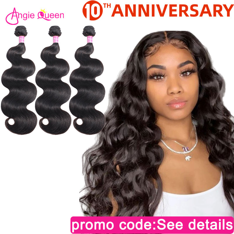 Angie Queen Body Wave Bundles Indian Non Remy Hair 100% Human Hair Bundles Natural Color Weaves Remy Hair Bundles Hair Extension