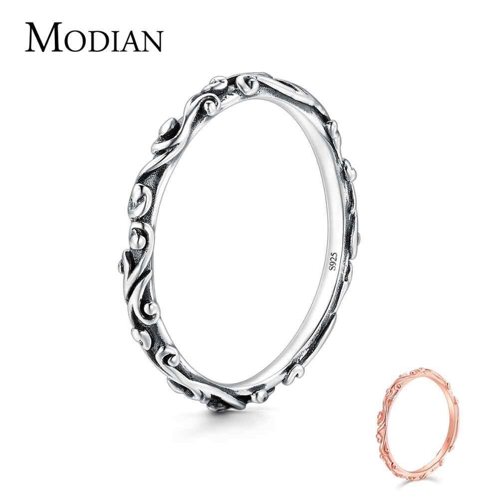 Modian anel 100% prata refinada 925, vintage, padrão empilhável, clássico, anel de dedo para mulheres, moda de casamento, joias de natal