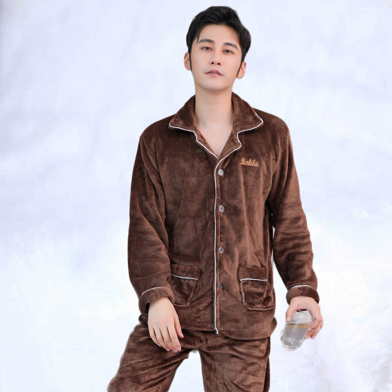 Winter Men's Pajamas Men's Padded Padded Jacket Flannel Thickened Thermal Pajamas