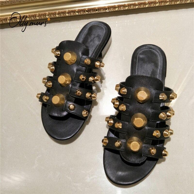 OllyMurs/сезон весна лето; обувь из натуральной кожи; женские шлепанцы с открытым носком; женская обувь с металлическими шипами; тапочки; женска