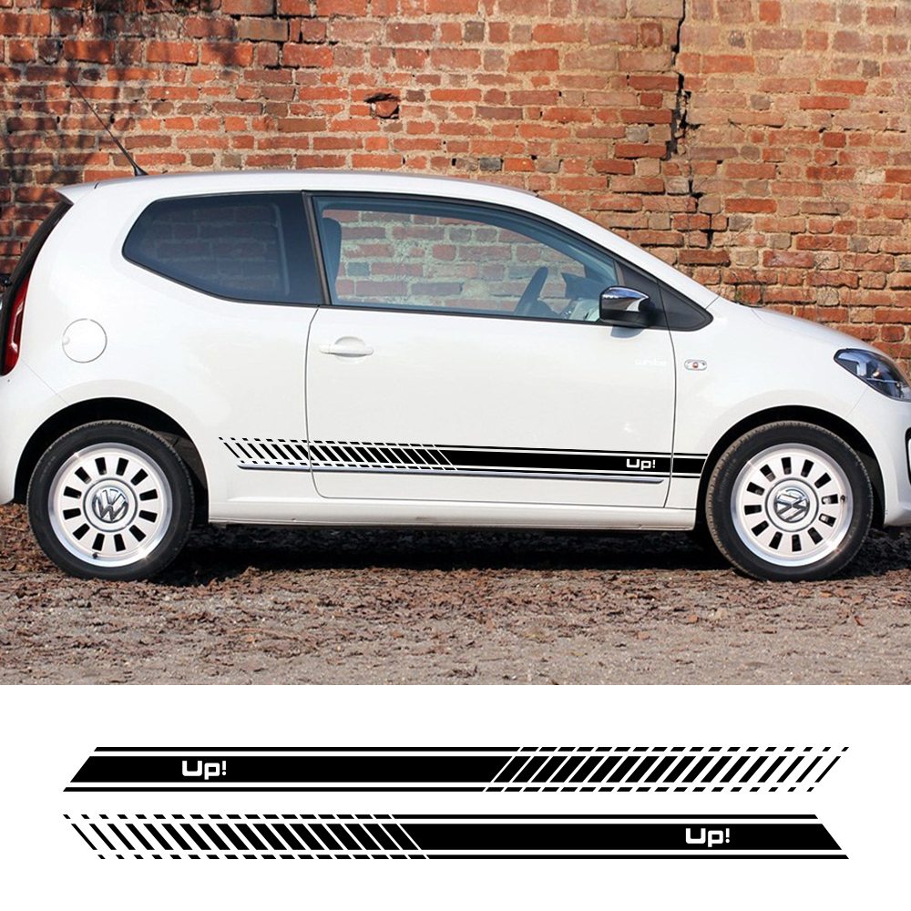 2PCS Vinyl Car Stickers Stylish Sport Automobiles Side Stripes Skirt Decal DIY For Volkswagen VW UP Car Styling Auto Accessories