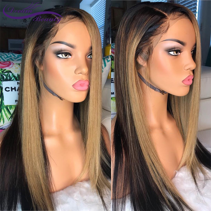 Ombre Blonde 13x6 Lace Front Human Hair Wigs Blonde Remy Fake Scalp Wig 180% Brazilian Straight Lace Frontal Wigs Dream Beauty