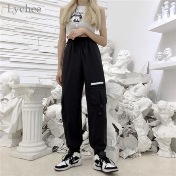 Lychee Harajuku Solid Buckle Women Pants Elastic Waist Pockets Female Jogger Pants Casual Loose Spring Autumn Lady Trousers 2